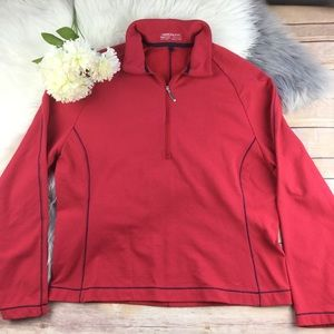 Nike Golf red ribbed 1/4 zip long sleeve pullover